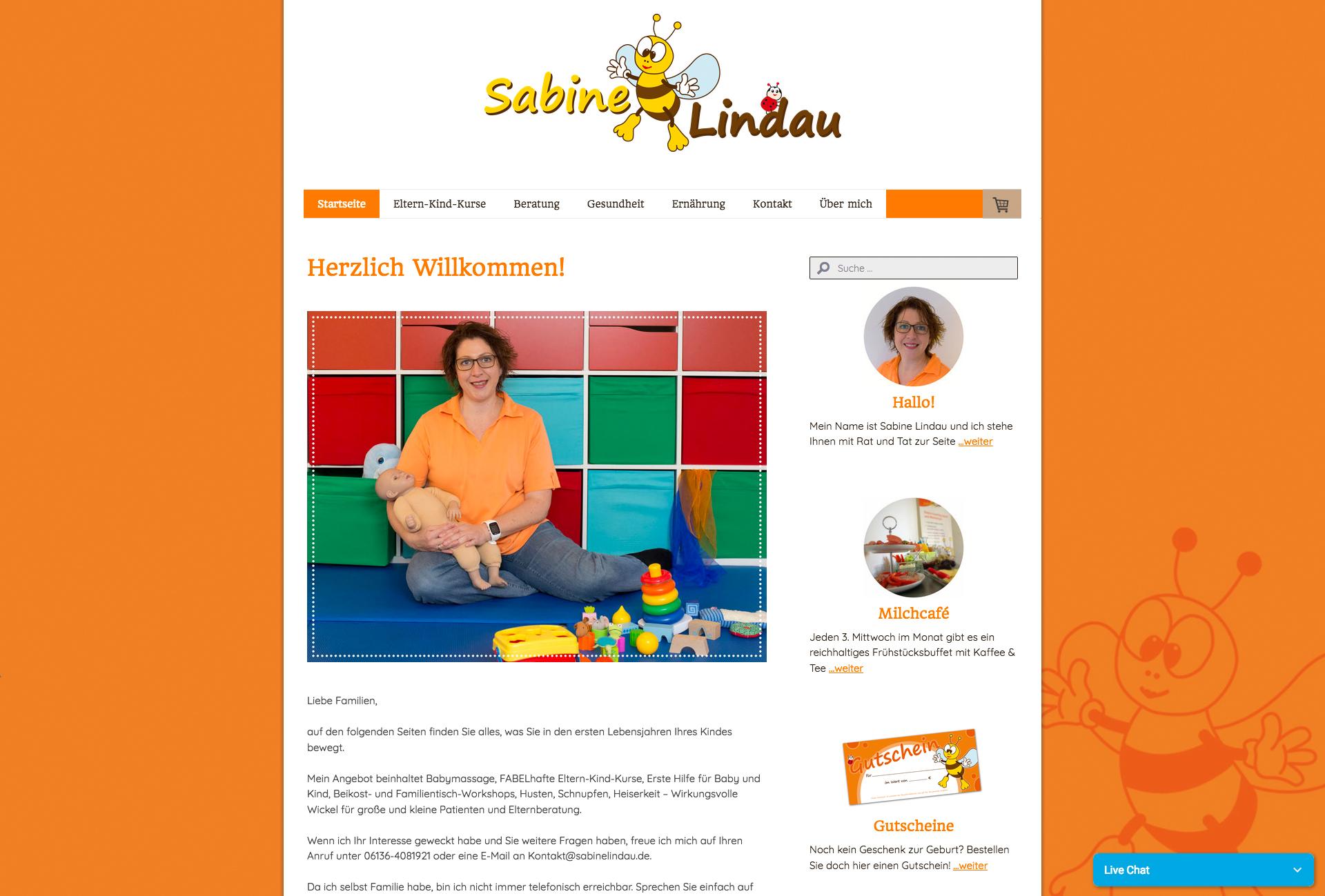 Website Beratung rund ums Kind – Sabine Lindau